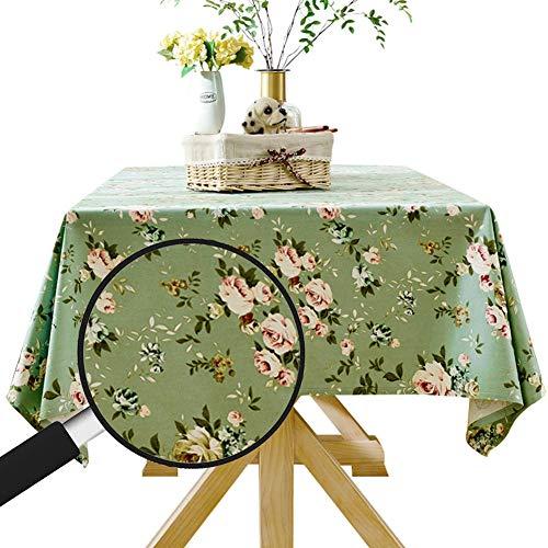 LAZAJ Manteles De Algodón Y Lino, Estampado Floral Rectangular Mantel De Mesa De Estilo Simple Natural Multiusos Para Interior Y Exterior,Verde,140x200cm