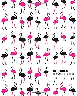 Notebook Flamingo Club: (White Edition) Fun notebook 192 ruled/lined pages (8x10 inches / 20.3x25.4 cm / Large Jotter)