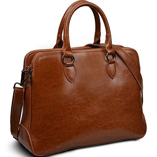 """Yaluxe Donna doppio Cerniera vera pelle elegante Büro Borse a spalla Borsa a tracolla Borse a tracolla adatto 13"""" Laptop marrone"""