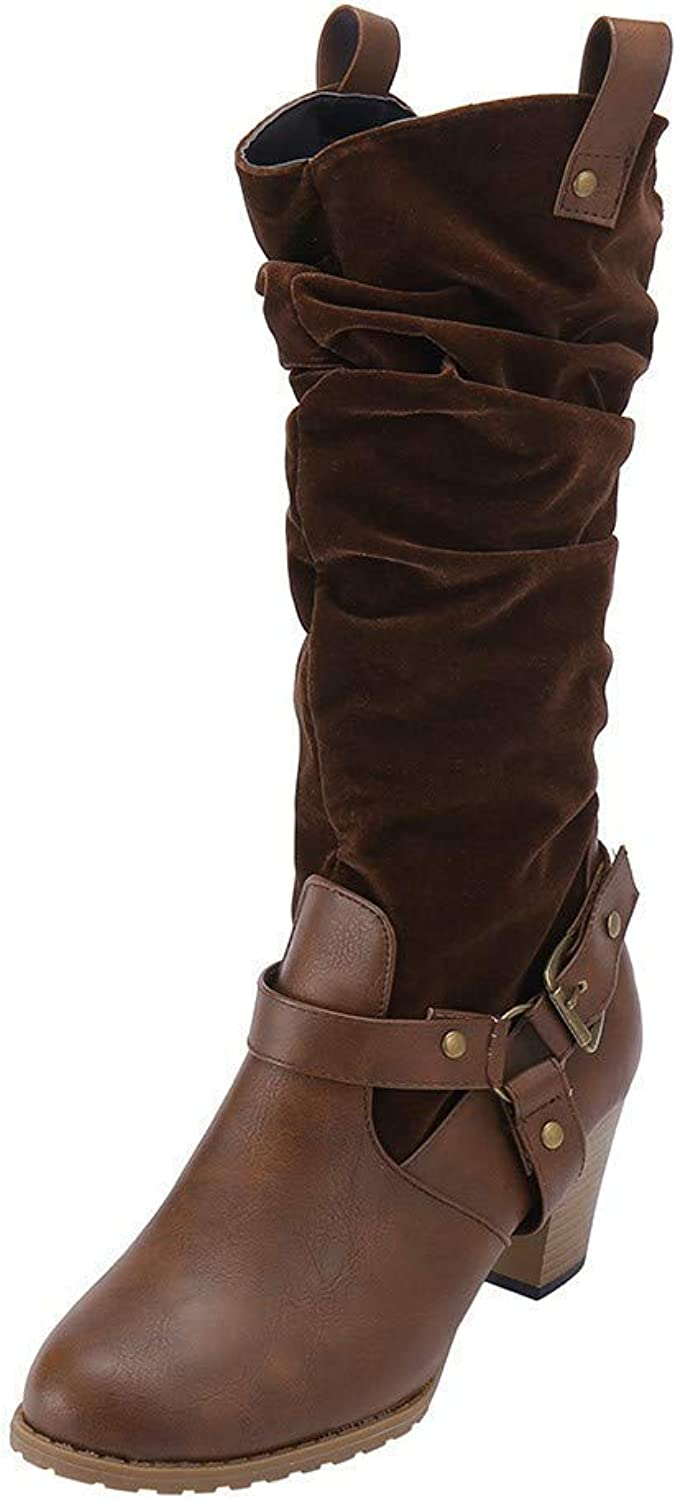 A-LING Women Mid Heel Solid color Knee High Boots Non-Slip Flock Leather Booties