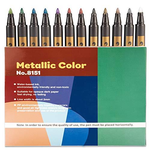 PGFUN 12 rotuladores metálicos, 10 colores, bolígrafos metálicos prémium para libro de visitas, boda, cumpleaños, álbum de fotos DIY, páginas negras, álbum de recortes (punta suave de 2 mm)