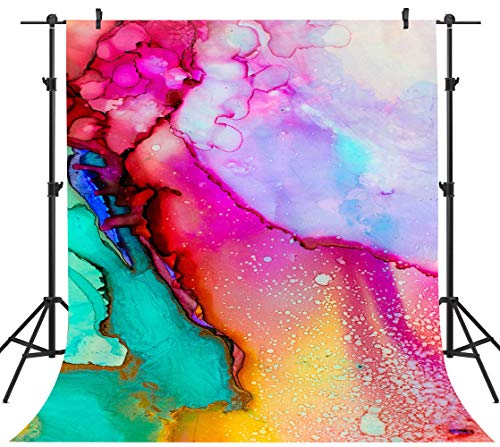 Colorful Watercolor Painting Backdrops Art Paint Photography Backgrounds Vinyl 5x7ft 80's 90's Theme Birthday Party Backdrop Photo Studio Props PHMOJEN WQPH401