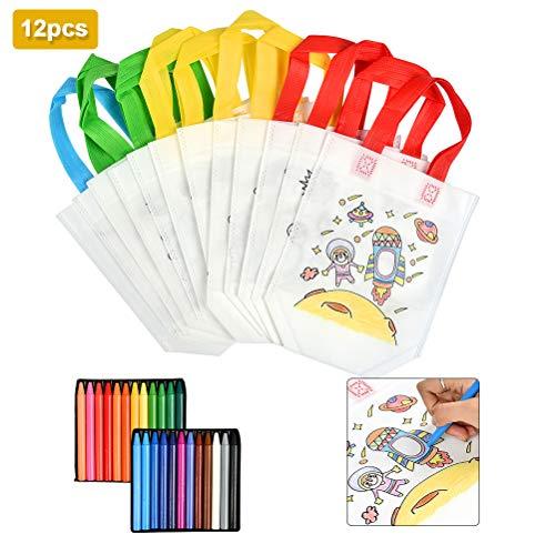WOWOSS Set Bolsas de Tela para Niños, 12 Bolsas para Colorear no Tejidas Ecológicas y 24 Crayones de Colores
