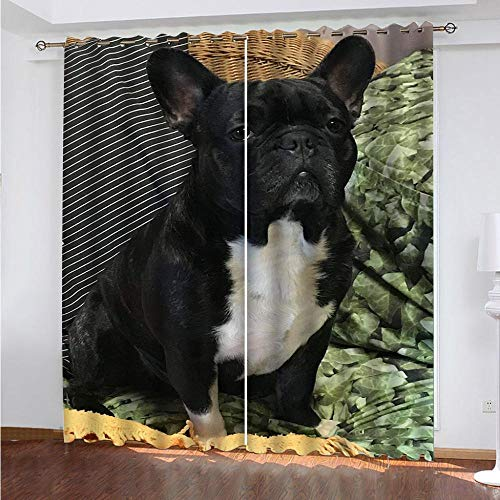 LZTTDMG Cortinas Opacas 3D Perro Animal Negro Impresión Cortinas 2 Piezas Poliéster Cortinas Térmica Aislantes para Balcon Salón Dormitorio Habitación Decoracion Cortinas 183x214cm