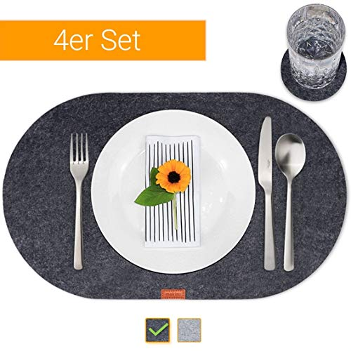 mokinu Design Filz Tischset inkl. Glas-Untersetzer - 4er Set Premium Platzset Oval – abwaschbare Platzdeckchen für 4 Personen, Tischuntersetzer Anthrazit