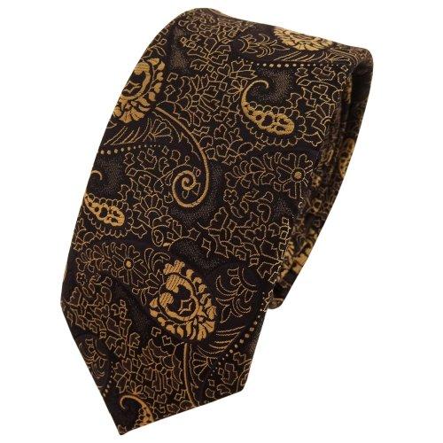 TigerTie schmale Krawatte gold bronze schwarz Paisley - Binder Tie Polyester