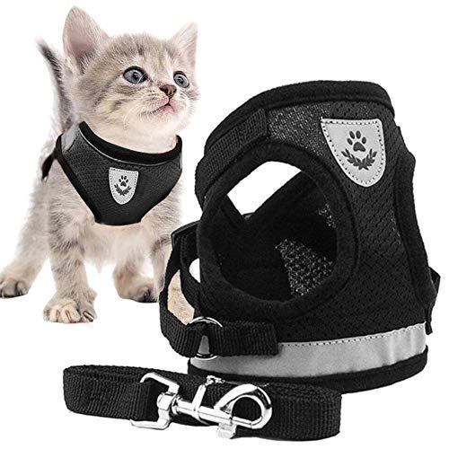 Yisily Hundegeschirr kleine Hunde,Pet Chest Harness Katze ausbruchsicher Geschirr Hunde Reflektierende Harness Adjustable mit Leine für Walking Schwarz S