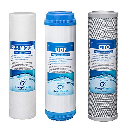 DeepFresh Filter Replacement 10 Inch Universal Pre-Filter Removal Set for 3-Stage Reverse Osmosis System,6 Month Supply PP Sediment Water Filter, UDF, CTO, for Reverse Osmosis Water Filter System