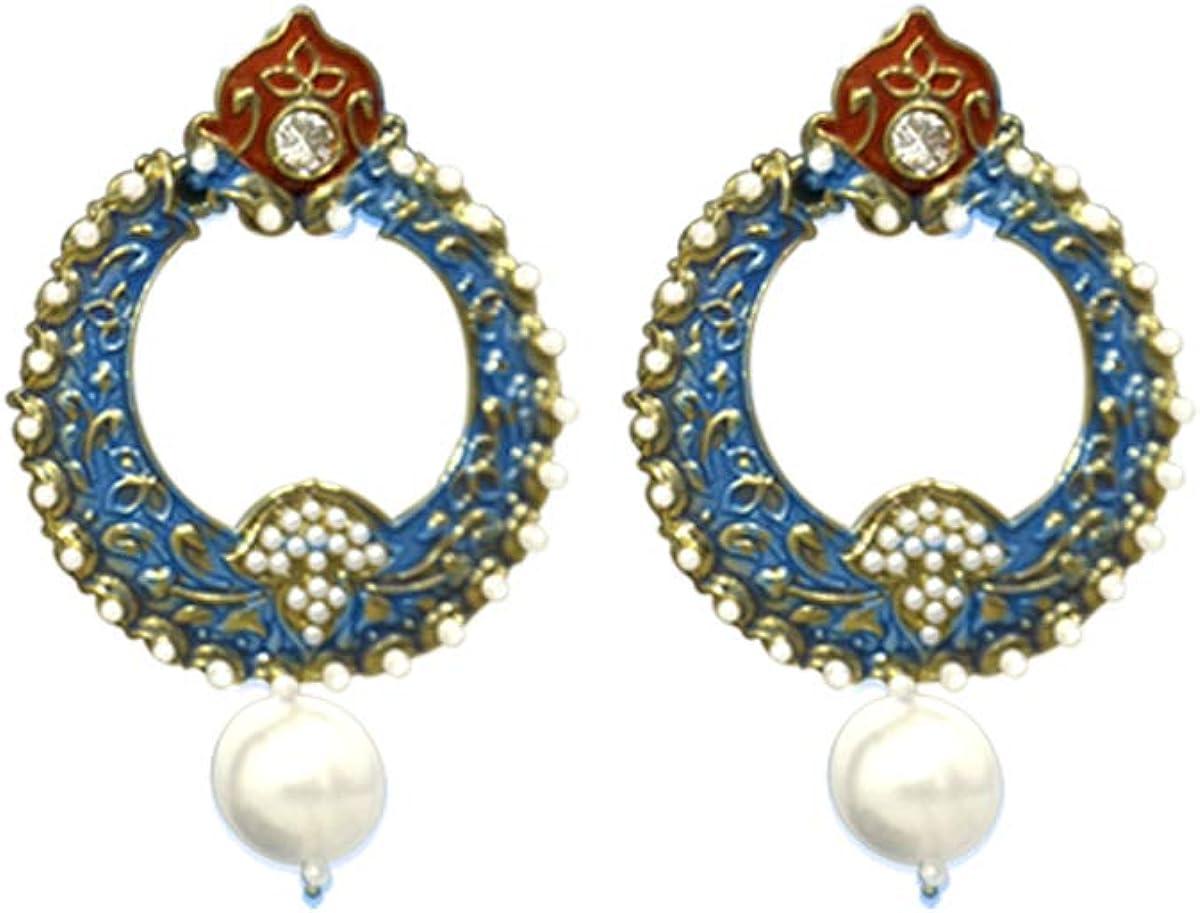 STORE INDYA Antique Ethnic Chandbali Drop Dangle Bollywood Fashion Earring (Blue)