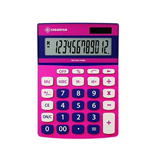 Osama calcolatrice Metal 12 Cifre Becolor Rosa/Blu