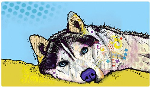 """Drymate Pet Placemat, Dean Russo Designs, Dog Food Mat, Cat Food Mat, Zorb-Tech Anti Flow Technology for Surface Protection (USA Made) (16"""" x 28"""", Siberian Husky)"""
