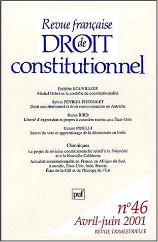 Revue Franaise De Droit Constitutionnel N 46 Avril Juin 2001