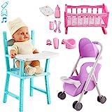 deAO La Mia Prima Bambola Bebè Set Bambola con Suoni e Accessori Inclusi