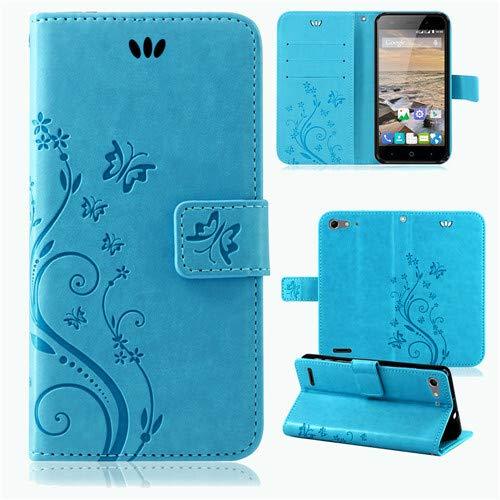 betterfon | Flower Case Handytasche Schutzhülle Blumen Klapptasche Handyhülle Handy Schale für ZTE Blade V6 Blau