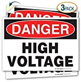 (3 Pack) Danger High Voltage Decal Sign - 10' X 7' - Self-Adhesive 4 Mil Vinyl Decal - Indoor and Outdoor Use - A81-106VL-3
