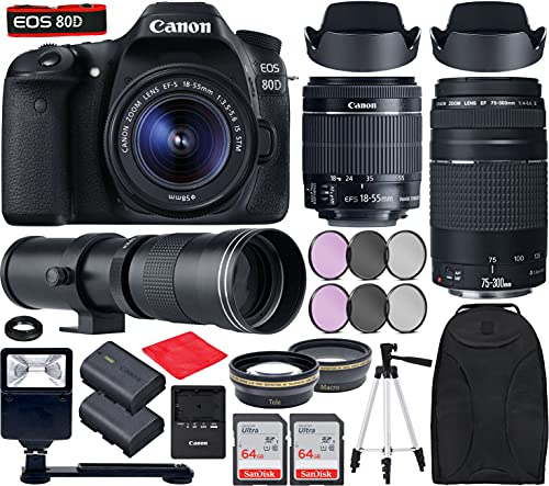 Canon EOS 80D DSLR Camera with EF-S 18-55mm f/3.5-5.6 is STM, EF 75-300mm f/4-5.6 III, 420-800mm f/8 Lenses Bundle with Accessories (Extra Battery, Digital Flash, 128Gb Memory and More)
