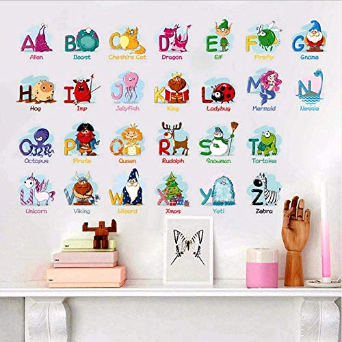 Puzzel Vroeg Onderwijs Plakken 26 Engels Alfabet Muurstickers voor Kids Kamers Cartoon Dieren Art Wall Achtergrond Decal