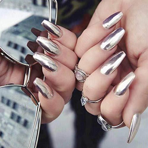 Gorais Coffin Press on Nails Silver Mirror Fake Nails Long False Nails Ballerina Full Cover Nails for Women(24 Pcs) (F Silver)