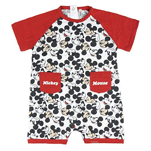 Cerdá Bebe Niño de Disney Mickey Mouse-18 Meses-100% Algodon Pelele, Rojo, 18 Meses para Bebés