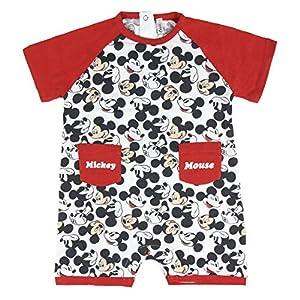 Cerdá Bebe Niño de Disney Mickey Mouse-12 Meses-100% Algodon Pelele, Rojo, 12 Meses para Bebés