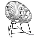 Wakects - Silla mecedora, mecedora de jardín, de polirratán, gris, para jardín, mecedora de jardín, exterior, silla mecedora Acapulco de niño, 72,5 x 77 x 90 cm
