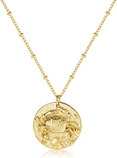 Fremttly Zodiac Coin Embossed Choker Necklace Disc 12 Constellation Astrology Horoscope 14K Gold Plated Round Pendant Pers...