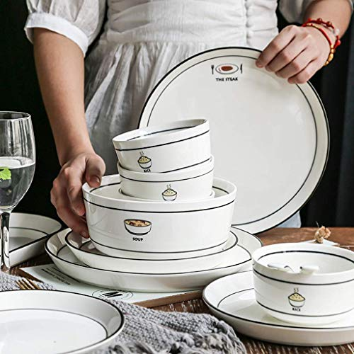 CCAN De vajilla, vajilla de cerámica, 56 Piezas de vajilla de Estilo nórdico Simple - Cuenco/Plato/Cuchara  Juego de combinación de Porcelana de Doble línea con Borde Negro para Restaurante de