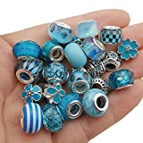 50pcs Assorted Blue Resin Imitation Glass European Large Hole Beads Rhinestone Metal Spacer Charms Bead Assortments for DIY Crafts Bracelets Necklaces Jewelry Making (M571-Lake Blue)