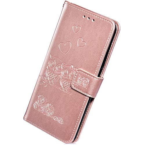 Herbests Compatible with Huawei P Smart 2018 Wallet Case Cute Retro Owl Love Heart Flower Pressed Pattern Design Leather Flip Protective Case Cover Card Holder Wrist Strap Stand,Rose Gold