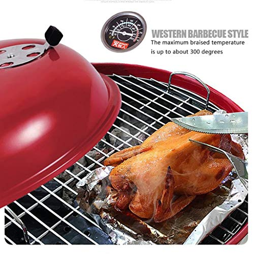 514TEgpIGQL. SL500  - M-YN Tragbarer Holzkohlegrill Edelstahl Barbecue Grill Smoker Holzkohlegrill for Camping Picknick im Freien Garten-Party Grill BBQ, (Color : Red)