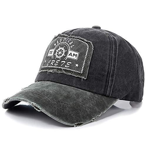 Casquette Homme Unisexe Retro Cap Washed Cotton Patch Brodé Baseball Cap Hommes Femmes Casual Réglable Outdoor Trucker Hat Cap-Black_54Cm-62Cm