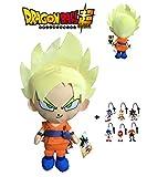 Dragon Ball Super - Peluche Goku Super Saiyan, pelo rubio 30cm Calidad super soft + 1 Llavero aleatorio de Sonic