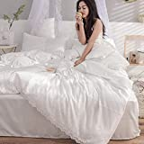 Bocotous Cotton Duvet Double Cover Set,Luxury Bedding Set Satin Silk,Lace Duvet Cover Pillowcase Bed Sheet Single Double King Bed White 2.0m Bed(Fitted Sheets)