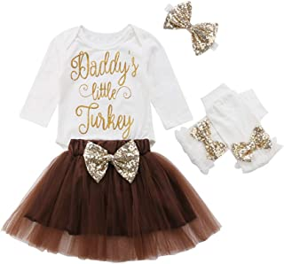 Infant Baby Girls Thanksgiving Outfit Newborn Romper Tops + Tutu Skirt + Leg Warmers Headband 4PCS Set