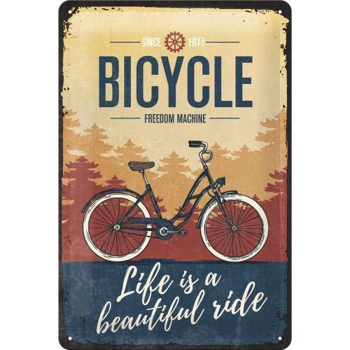 "Nostalgic-Art Moto Guzzi logo de cartel de chapa ""Life is a beautiful ride"", metal, multicolor, 20?x 30?cm"