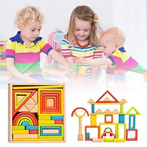 Sunnyushine Juguete de apilamiento de Arco Iris de Madera, Arcoiris Bloques De Construcción Juguete para Niños, Bloques De Construcción De Madera Arcoiris, Juguetes educativos de anidación para niños