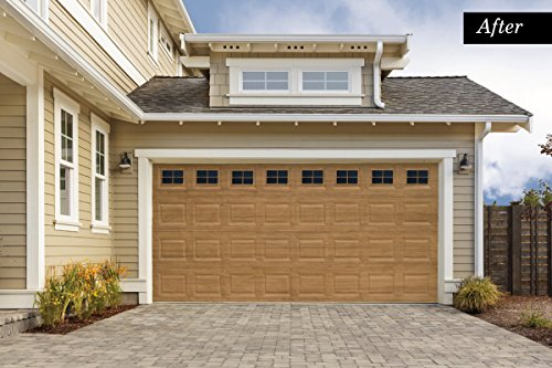 Giani 2 Car Garage No-Fade, Weather-Resistant, Ultra Strong Decorative Magnetic Door Window Panes, Black