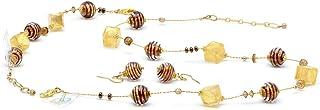 Set di gioielli in vero vetro di Murano, colore: Cioccolato
