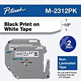 Brother Genuine P-Touch M-2312PK Tape, 2 Pack, 1/2' (0.47') Wide Standard Non-Laminated Tape, Black on White, Recommended for Home and Indoor Use, 0.47' x 26.2' (12mm x 8M), 2-Pack, M2312PK, M231