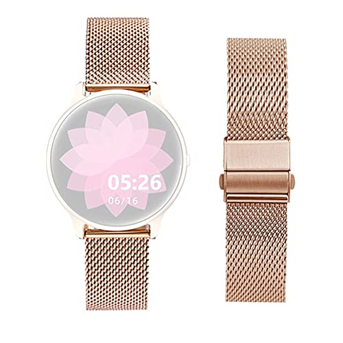 smaate Watch Band Only Compatible with YAMAY 022, AGPTEK LW11, Soundpeats Pro1, Dirrelo Fitpolo Hamile GT01, Cubitt CT2Pro Smartwatch, Mesh Milanese Replacement, Folding Clasp with Safety BM8RG R-Gold