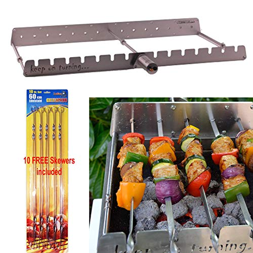 Keep on Turning 14 Skewer Kabob Kebab Shish Automatic Rotating Rotisserie Grill Rack Accessory Attachment for Gas Grills Stainless Steel incl. 10 Skewers Barbecue Skewers