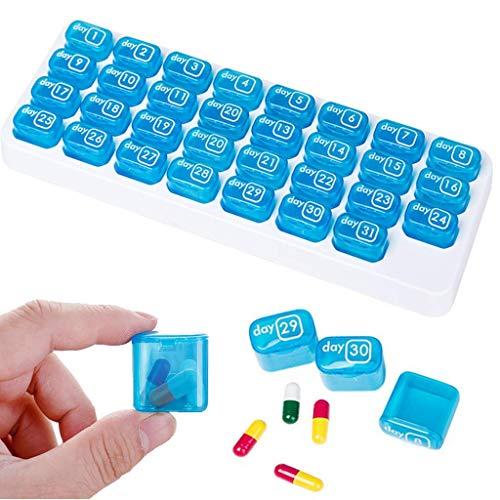 Feelairy Pillendoos voor 31 dagen, draagbare tablettenbox, maand met deksel voor onderweg, medicijndoos, vitaminen…