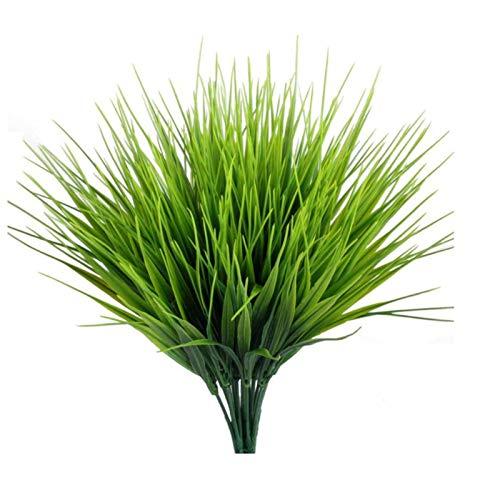 10 Piezas De Plantas Artificiales Al Aire Libre De Plástico Falso Arbustos Vegetación Arbustos Pasto Trigo Plantas Verdes Artificiales para Jardín Cocina Baño Adorno Alféizar