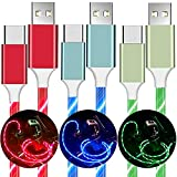 USB C Cable, BAVNCO 3-Pack(3.3ft) Visible Flowing LED Light Up USB to Type C Charger Cable 3A Fast Charging Cord for Samsung Galaxy S10 S9 S8 S20 Plus Note 10, LG, Google Pixel, PS5 More Android Phone