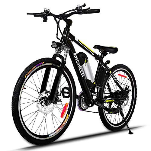 ANCHEER Electric Bike 250W/500W Ebike 26'' Electric Bicycle, 20MPH Adults Electric Mountain Bike with Removable 8/12.5ah Battery, Professional 21 Speed Gears