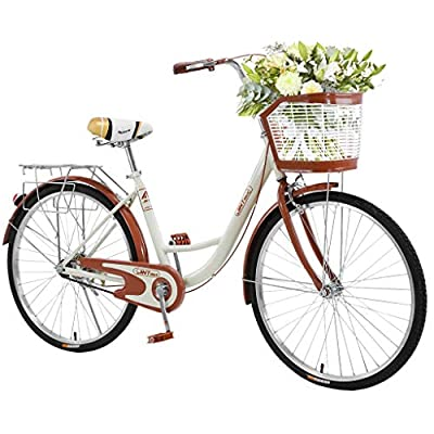 TOUNTLETS 26 Inch Womens Beach Cruiser Bike Unisex Classic Iron Bicycle with Basket Retro Bicycle Unique Art Deco Scooter,Road Bike,Seaside Travel Bicycle,Comfortable Women Commuter Bicycle (Beige)