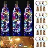 Luces de Botella - Sendowtek 12 pcs 2m Luz Interior para Botella Corcho para Botellas Adornos Navidad Luces Decorativas con Pilas para Árbol de Navidad Fiesta Hogar Bodas Exterior Interior(Multicolor)