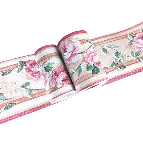 Adesivo da parete con motivo floreale rosa, per bagno, cucina, soffitto, piastrelle, impermeabile, rimovibile, 10 cm x 10 m