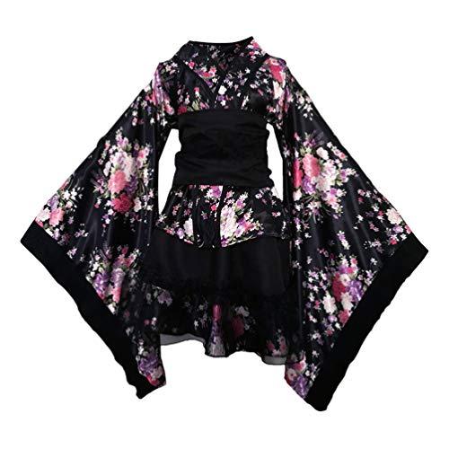TENDYCOCO Kimono Giapponese Yukata Sakura Modello Robe Cosplay Costume Outfit -XXL (Nero)