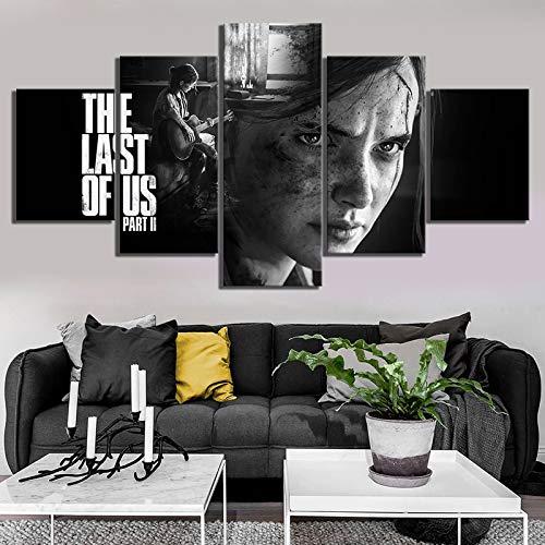 Pinturas de arte de pared en blanco y negro de 5 piezas Hd Ellie The Last Of Us Part 2 Game Poster Artwork Canvas Paintings for Home Decor(Frameless size)